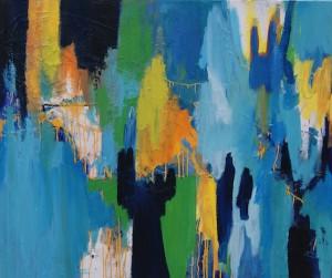 schilderij, robert, pennekamp, shop till you drop, olieverf, canvas, abstract, blauw, geel, lichtblauw, geel, oranje, wit, dripping, druiper